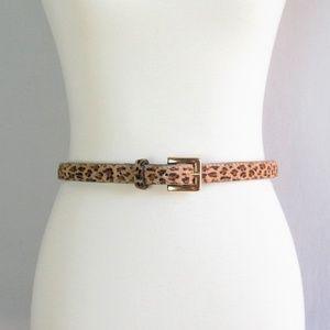 Skinny calf hair leopard print belt